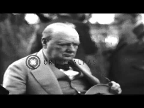 Roosevelt, Churchill and Inonu during the Cairo Conference in Egypt. HD Stock Footage