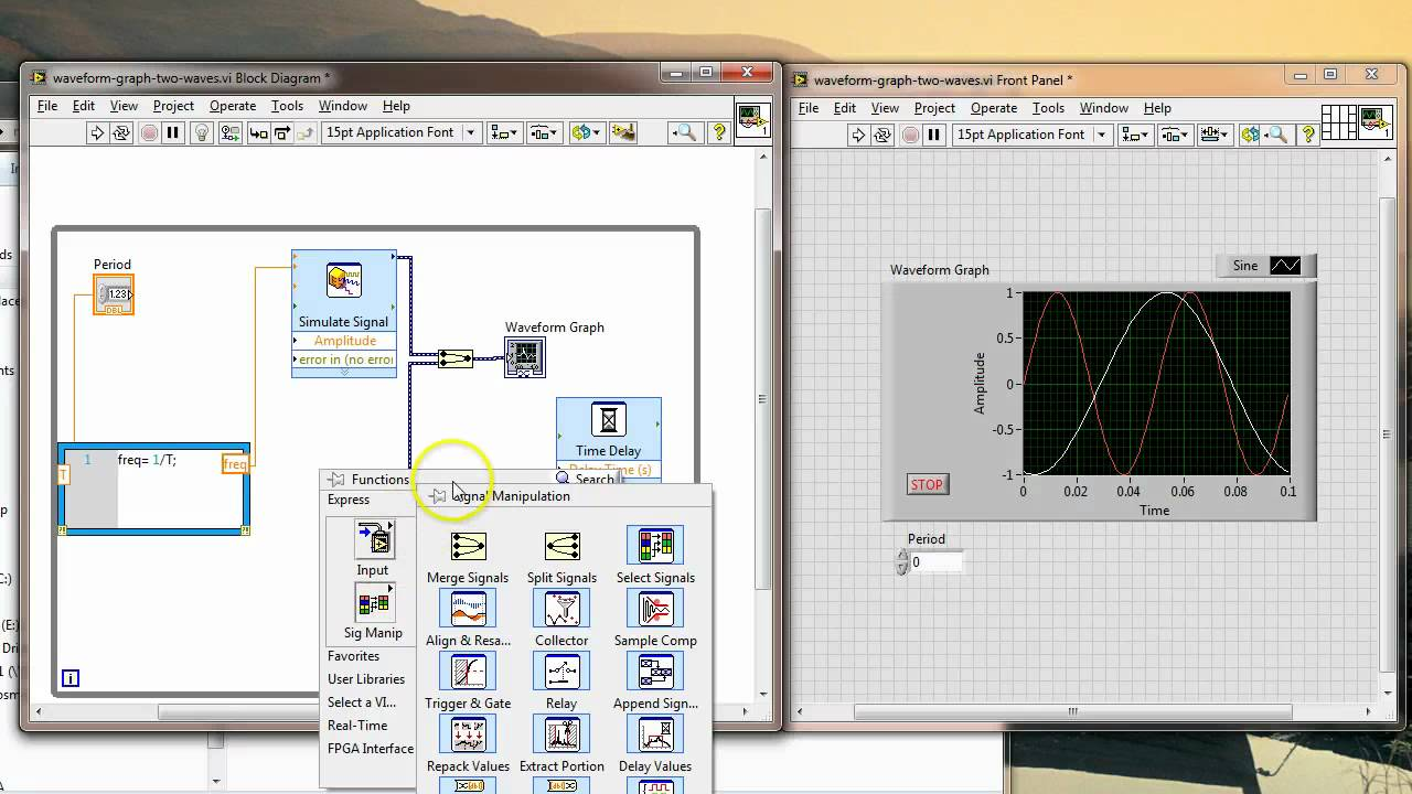 Two signals in waveform graph (LabVIEW)