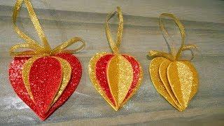 Сердечки -валентинки из глиттерного фоамирана  легко и просто