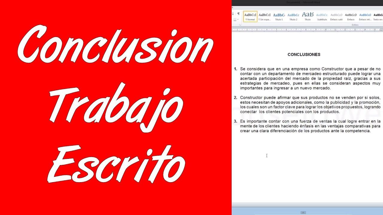Como hacer la conclusion de un trabajo escrito en word 2010 - YouTube