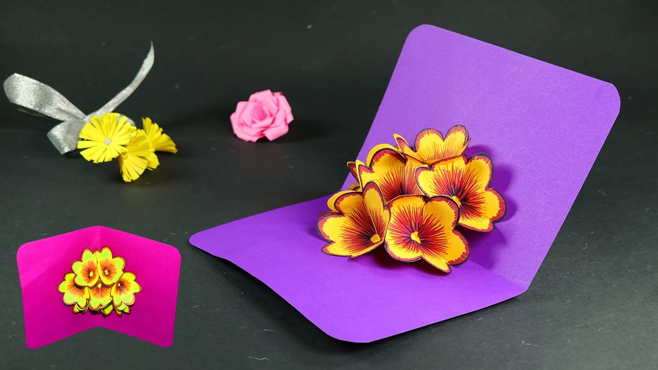 how to make pop up cards pop up flower card diy tutorial youtube