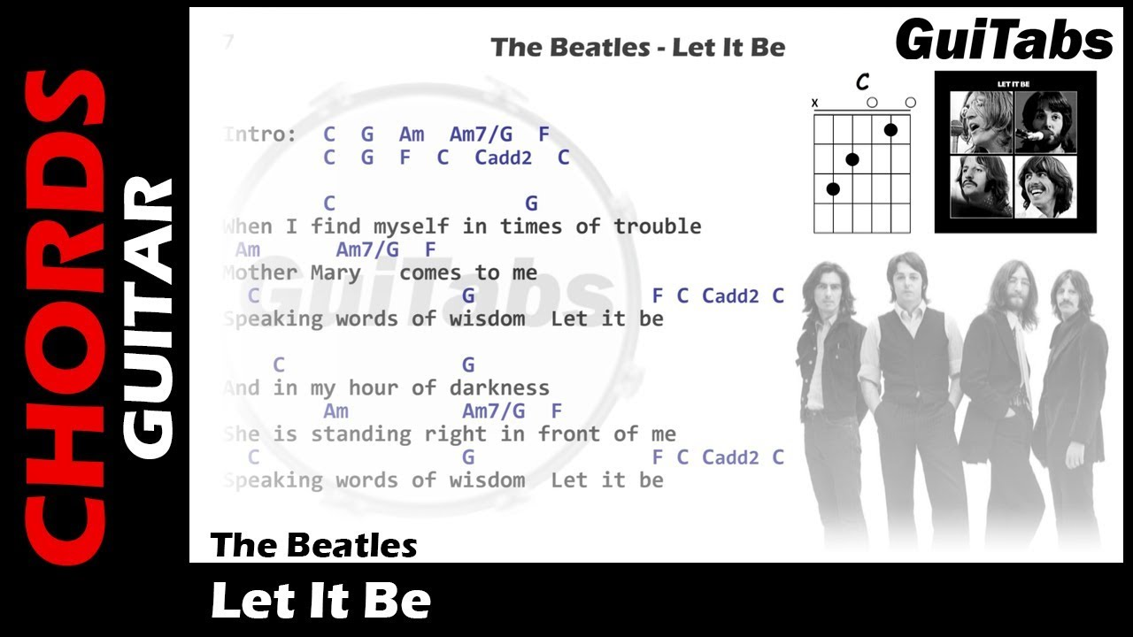 The Beatles Let It Be Lyrics And Guitar Chords Youtube