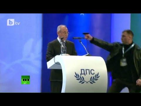 Intentan asesinar a un político búlgaro durante un discurso retransmitido en directo