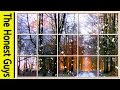 Gambar cover Winter Window Scene. Forest living Wallpaper with Ambient Fireplace