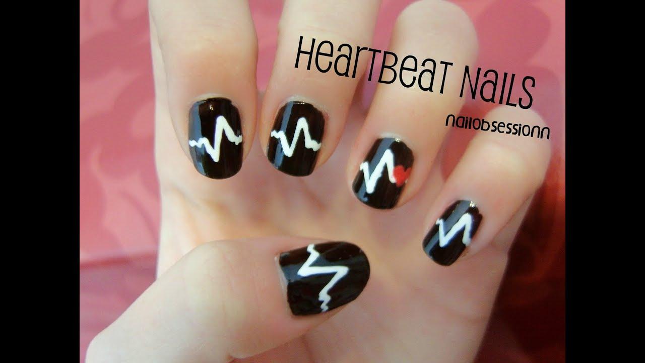 EASY Heartbeat Nail Art! (Valentines Day) - YouTube