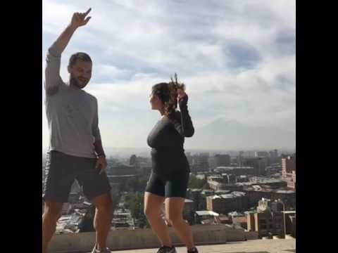 Dancing high above at Kaskad Yerevan after our morning run with views of Mount Ararat