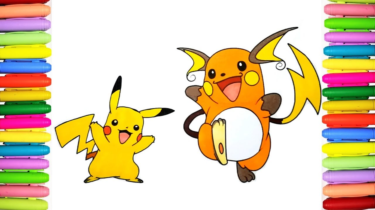 Pokemon Coloring Pages For Kids Pikachu And Raichu