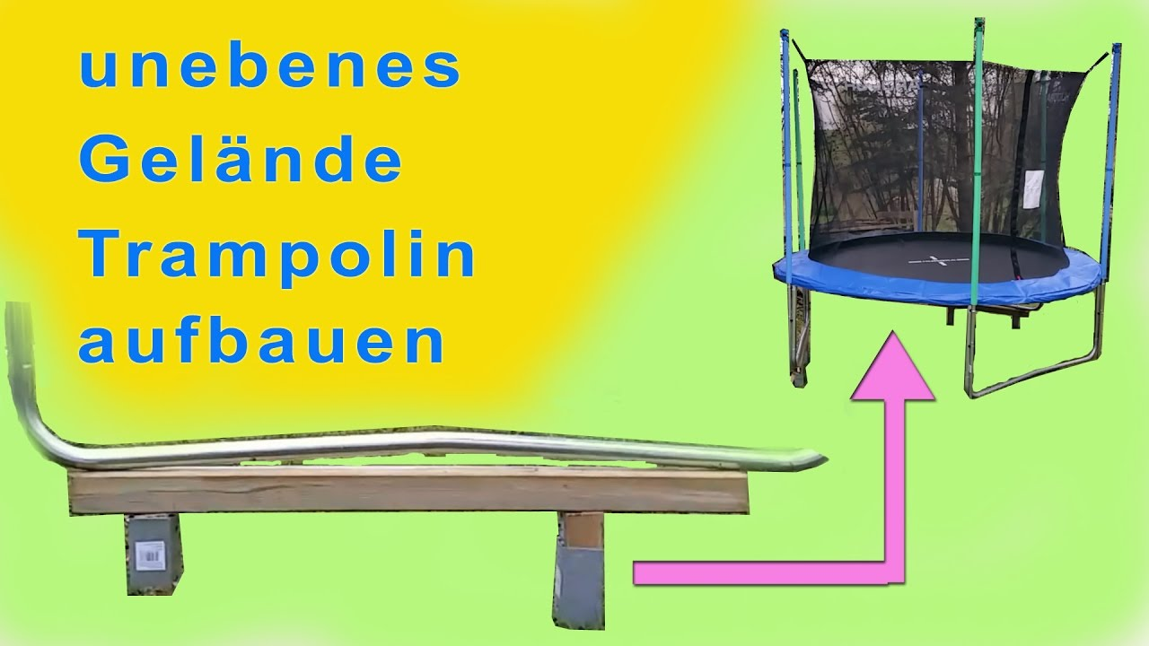 trampolin unebene wiese aufbauen hudora unboxing. Black Bedroom Furniture Sets. Home Design Ideas