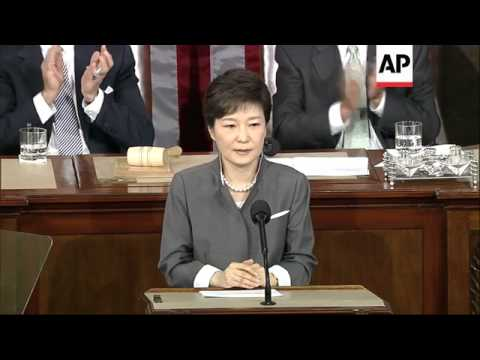 First female president of SKorea, Park Geun-hye, addresses US Congress