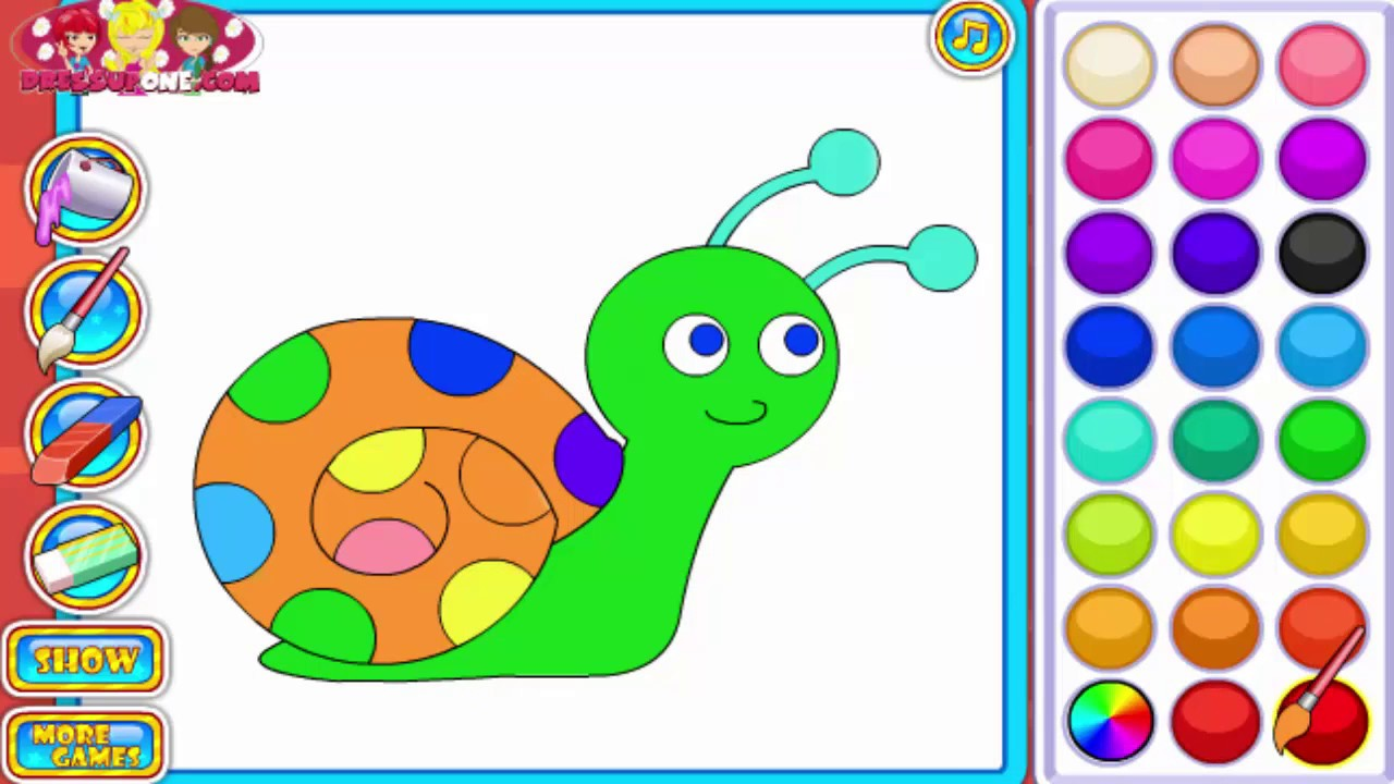 How To Draw and Coloring Snail Paint for Kids Coloring Pages - YouTube