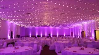 AAD Shrine wedding,  bistro and magenta up lighting by Duluth Event Lighting