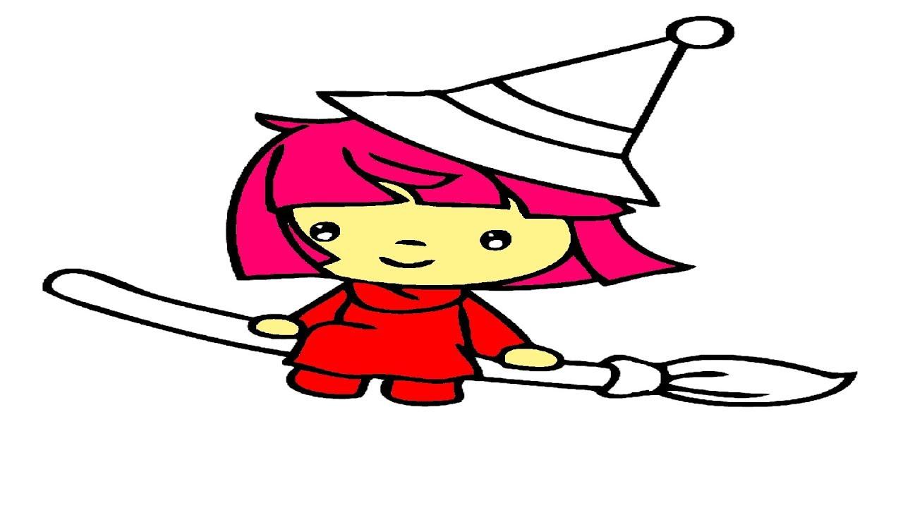 Cadı Kız Boyama I Renkleri öğrenin I Boyama Sayfaları Youtube