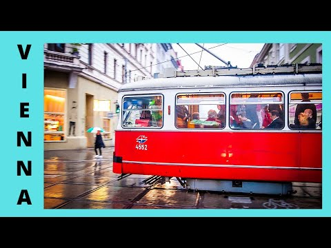 Riding the tram in Vienna on a cold rainy day before Christmas
