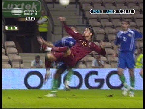 Cristiano Ronaldo disallowed super goal Portugal-Azerbaijan 07-10-2006