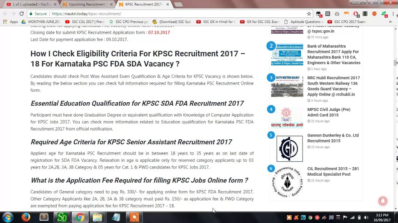 KPSC Recruitment 2017 – 18 Apply Online For Karnataka PSC 2488 FDA ...