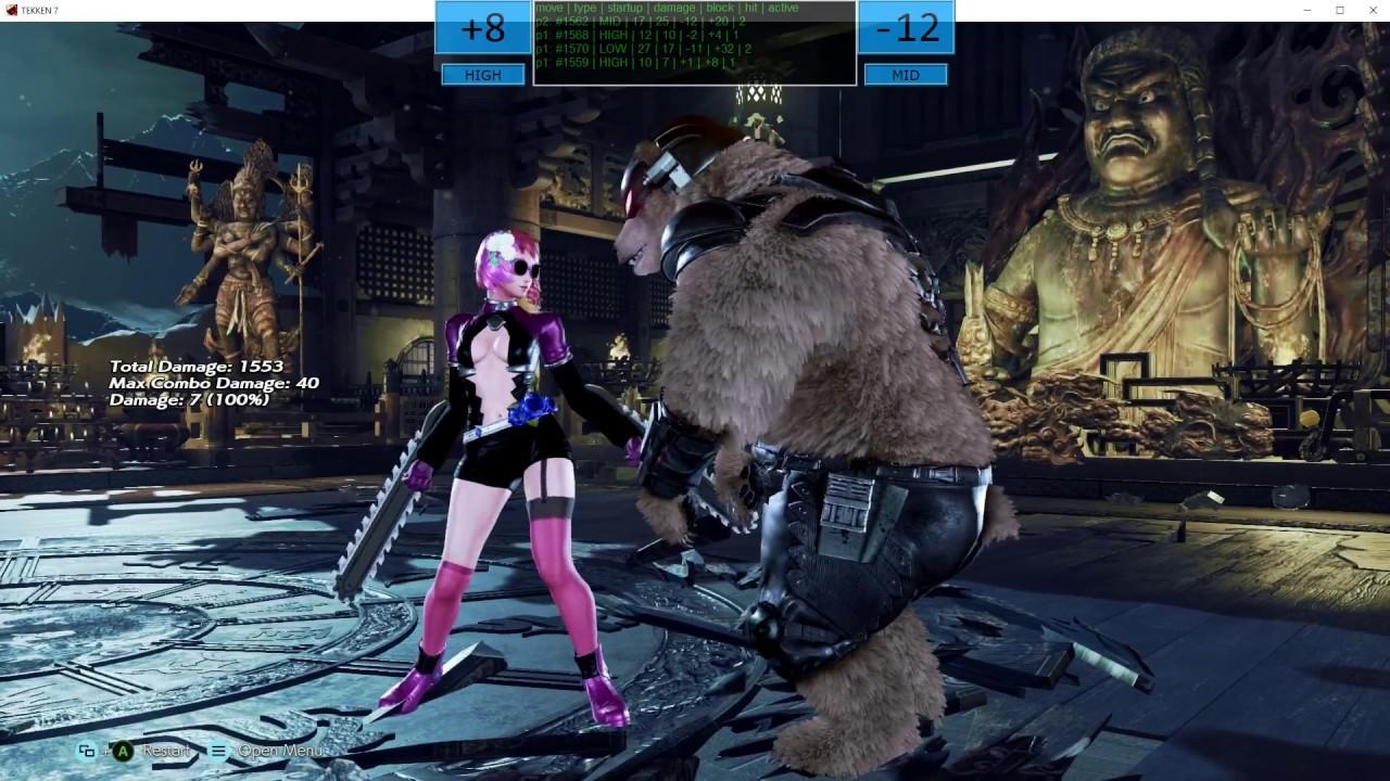 TekkenBot Frame Data Overlay: live frame data for Tekken 7 - YouTube