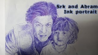 How to draw Ink portrait of srk and abram|| by Art shop 《Abhirup Saha 》
