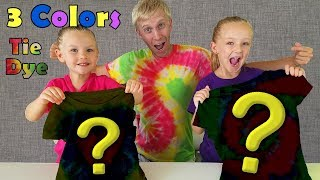 3 Colors Tie Dye Challenge!!! Hearts! Swirls! S Shapes! How to DIY!!!
