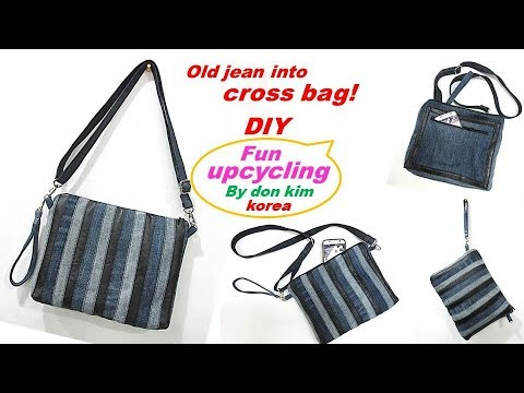 DIY 가죽배색 데님스트라이프 크로스백으로 리폼 leather denim stripe cross bag 가방  tote bag  shopper bag  wallet