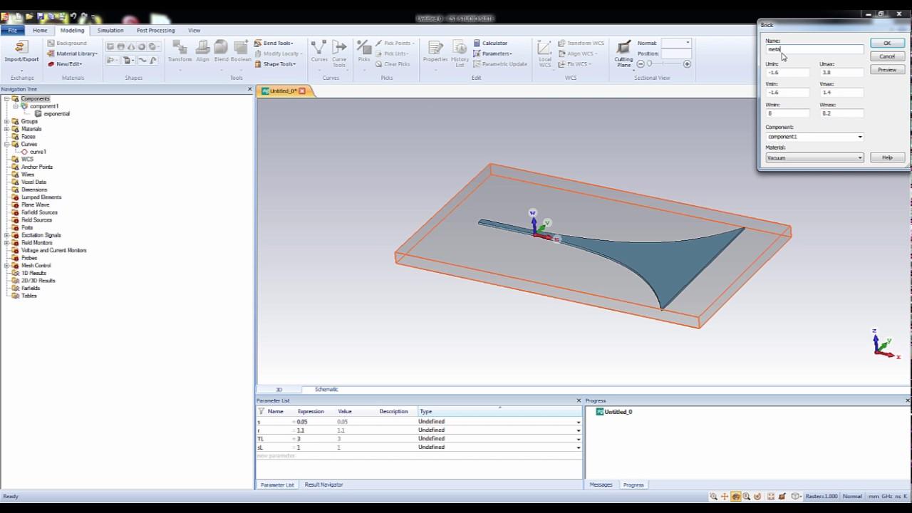 CST MWS Tutorial 09: Complete Vivaldi antenna design in CST part1
