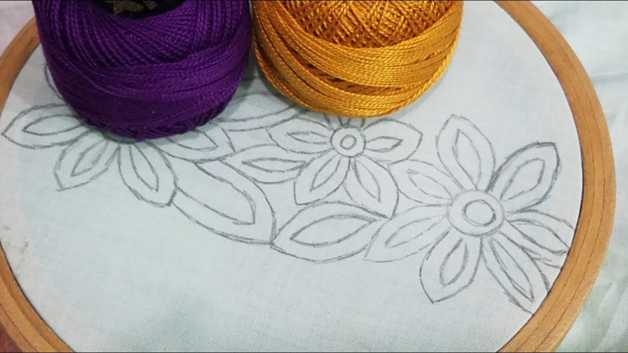 Shadow Work Hand Embroidery Border Design,Beautiful Flower Embroidery Design,Sewing Hack #1