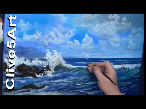 Acrylic Seascape Techniques , How to Paint Clouds Paint a Wave, in acrylics painting, clive5art