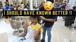 BLACK GIRL GETS HAIR DONE IN INDONESIA- HEAT DAMAGE + BREAKAGE ( I EXPECTED THIS TO HAPPENED)...