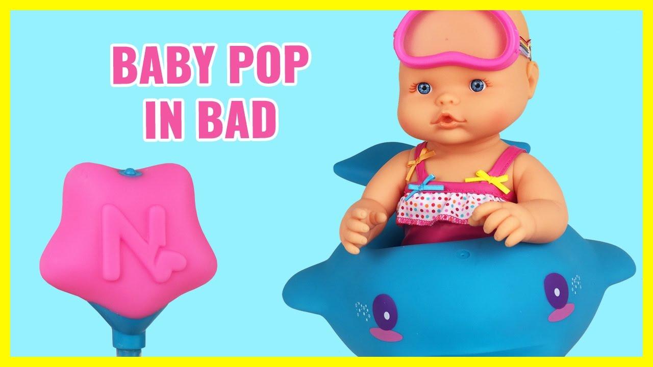BABY POP GAAT IN BAD ❤ BABY BORN ❤ NEDERLANDS FILMPJE LUIER ...