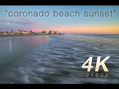"[4K] ""Coronado Beach Sunset + Moonrise"" 1 Hr Nature Video Canon 1DC"