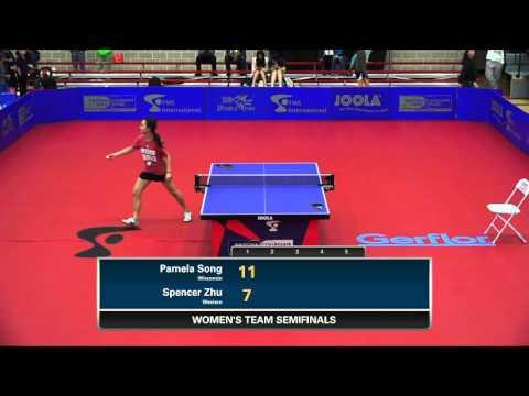2016 NCTTA Nationals Women's Teams 1/2 Final - Pamela Song (Wisconsin) vs Spencer Zhu (Western)