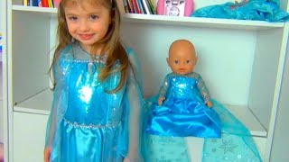 Princess Dominika Pretend play with a new tea set