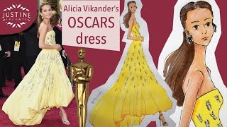 How to draw dresses: Alicia Vikander at the OSCARS | FULL FASHION DRAWING TUTORIAL| Justine Leconte