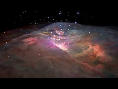 Flight through Orion Nebula in visible light