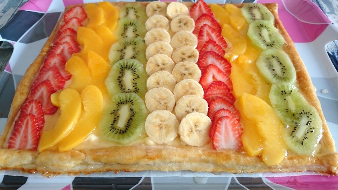Tarta de hojaldre con crema y frutas postres mil youtube - Postres con frutas faciles ...