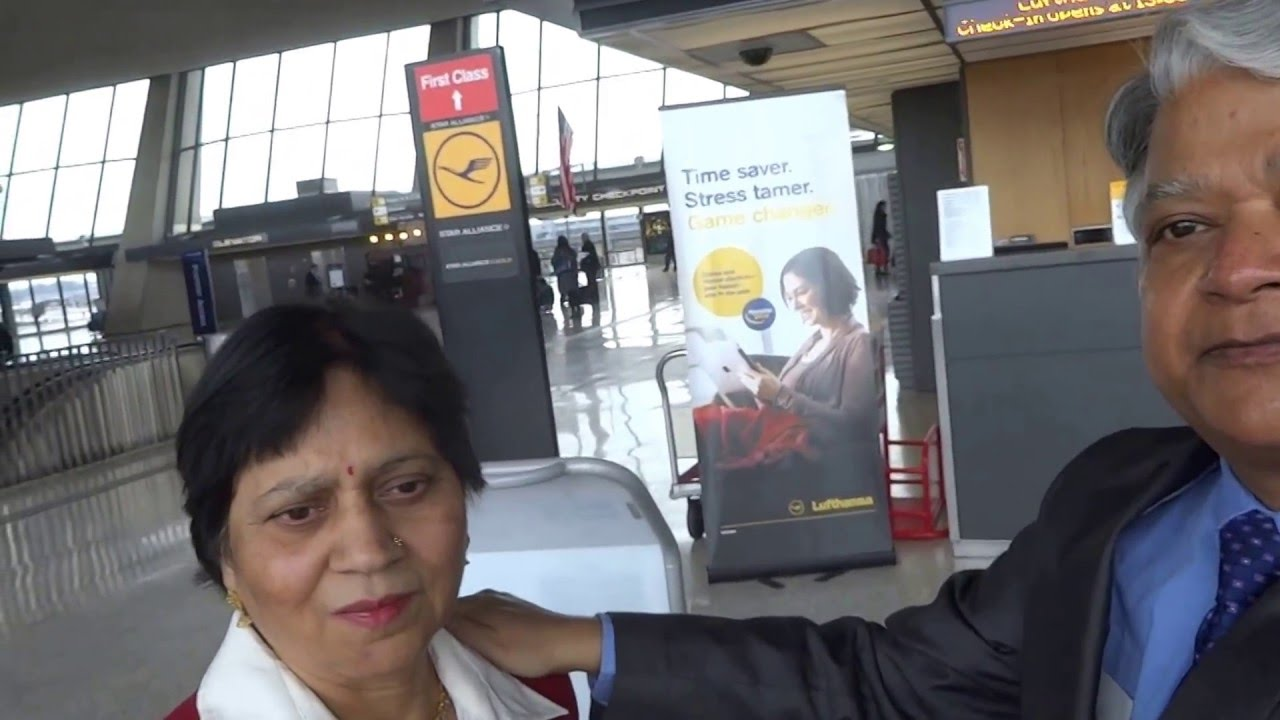 Aruna & Hari Sharma at Lufthansa Baggage Drop Off counter Washington IAD Airport,  Feb 16, 2016