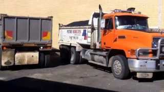 Jackknife tipping in a small car park
