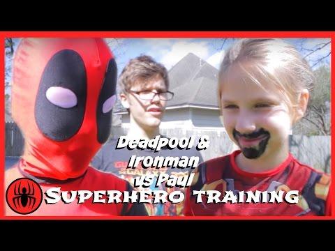 Kid Deadpool & Ironman vs Paul Superhero Training match In Real Life Fun comics film Superhero kids