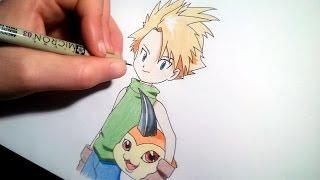 How to draw Matt Ishida and Tsunomon | speed drawing