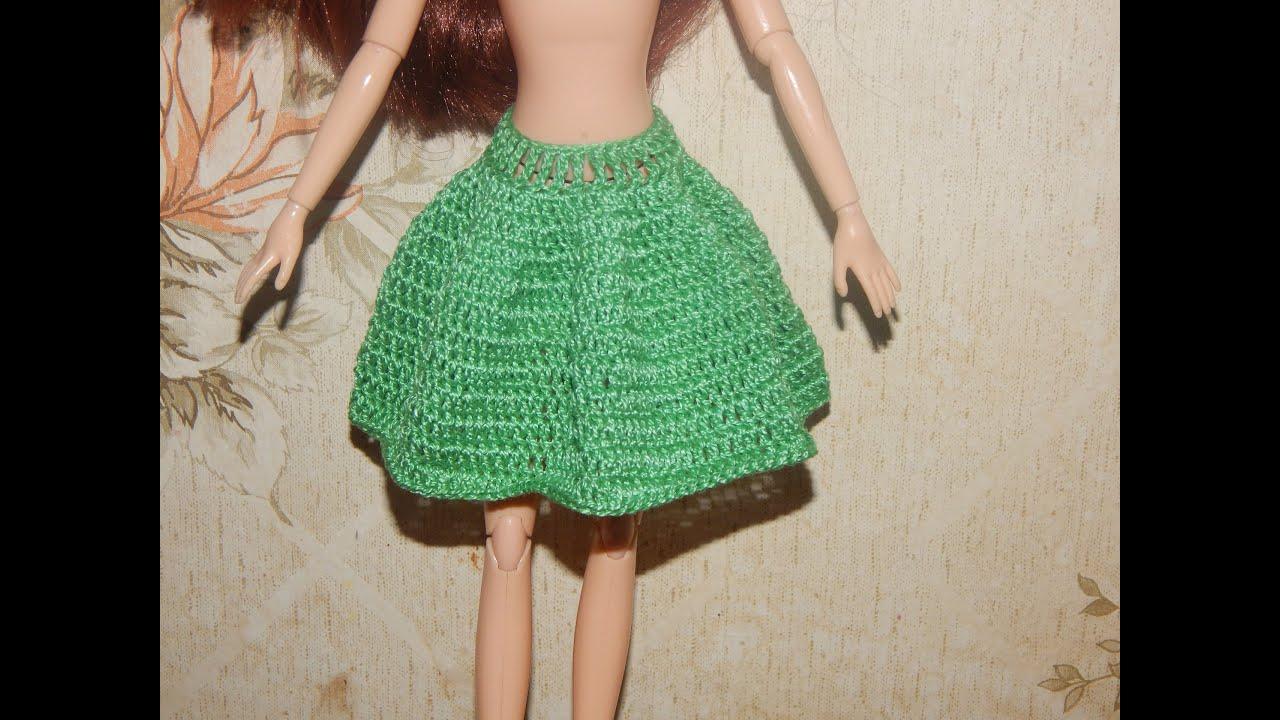 Вяжем юбку для куклы крючком