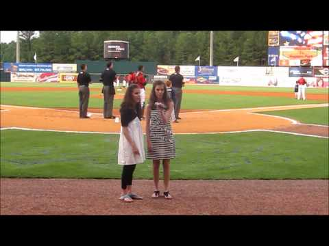 Madie and Ansley - National Anthem at Birmingham Barons game