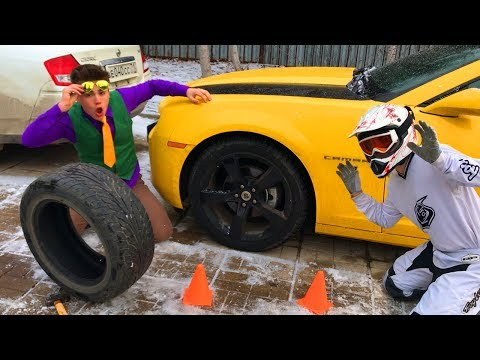 Motorcyclist with a punctured Wheel on Chevy Camaro in Tire Service by Mr. Joe! Funny Video for Kids