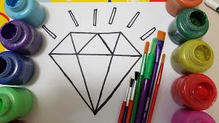learn colors /how to draw diamond and glitter painting for kids/alphabet song/painting page