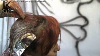 long copper light brown hair with violet light brown dip dyer ends by theo knoop