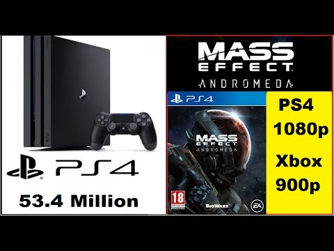 PlayStation 4 Sales Pass 53.4 Million.Mass Effect Andromeda 1080p PS4 900p Xbox One.Nintendo Switch