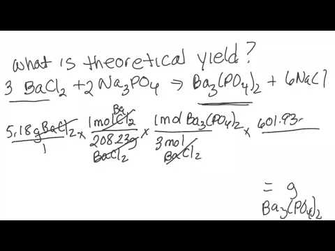 Theoretical yield - experimental yield - % yield