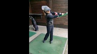 12 HCP WOMAN GOLFER | Practice swing | JollyGolf Teaching-Aid