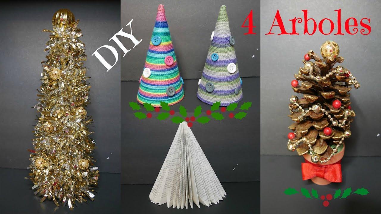 DIY 4 Arboles Navideos Ideas Fciles Adornos de Navidad YouTube