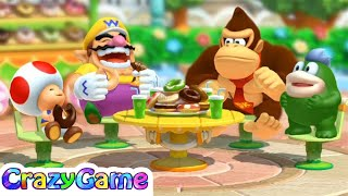 Mario Party 10 Coin Challenge - Wario v Toad v Donkey Kong v Spike Master Difficult | CRAZYGAMINGHUB