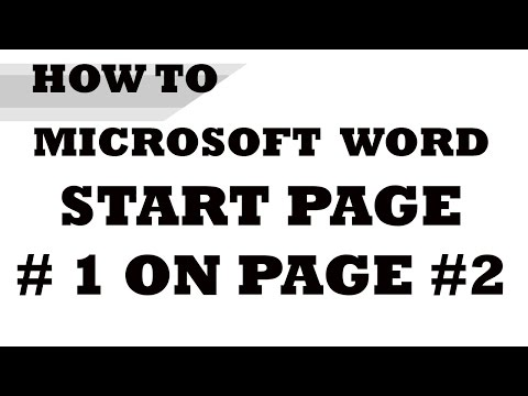 How to: Start Page Numbering on Page #2