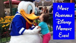Toddler Meets Donald Duck at Disneyland and Kisses him! Cutest and sweetest Moment Ever!